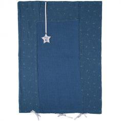 Housse de matelas à langer bleu et argenté (60 x 80 cm)