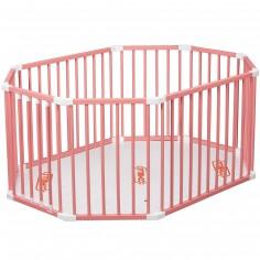 Parc bébé ovale en bois massif laqué rose