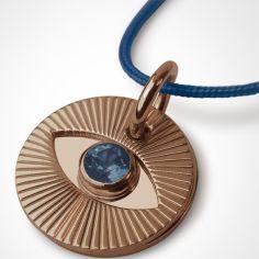 Collier cordon Cyclope avec saphir bleu (or rose 750°)