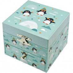 Boîte à bijoux musicale phosphorescente pingouin