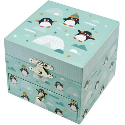 Boîte à bijoux musicale phosphorescente pingouin  par Trousselier