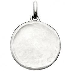 Médaille laïque martelée (or blanc 750°)
