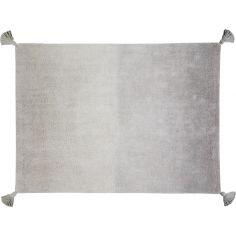 Tapis lavable dégradé avec pompons gris foncé gris clair (120 x 160 cm)