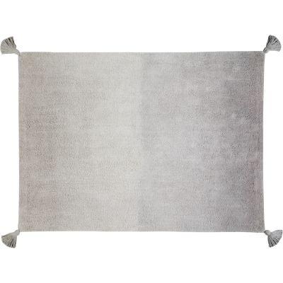 Tapis lavable dégradé avec pompons gris foncé gris clair (120 x 160 cm)  par Lorena Canals