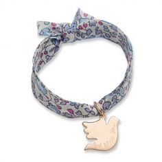 Bracelet enfant Liberty avec colombe personnalisable (plaqué or)