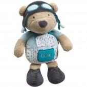 Peluche ours Lazare l'aviateur (30 cm) - Sauthon Baby Déco