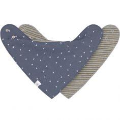 Lot de 2 bavoirs bandanas bleu et gris chiné