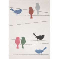 Tapis rectangulaire Tweet oiseau (135 x 190 cm)