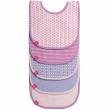 Lot de 5 bavoirs éponge imprimé rose pâle, violet, lavande fille  par Lässig