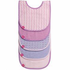 Lot de 5 bavoirs éponge imprimé rose pâle, violet, lavande fille
