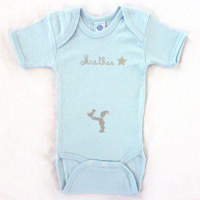 Body bleu à manches courtes personnalisable (0-6 mois)  par Les Griottes