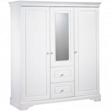 Armoire 3 portes et 2 tiroirs avec miroir Elodie Blanc  par Sauthon Signature