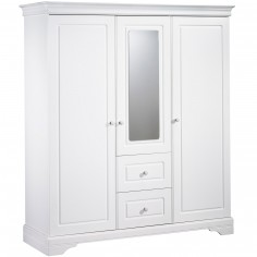 Armoire 3 portes et 2 tiroirs avec miroir Elodie Blanc