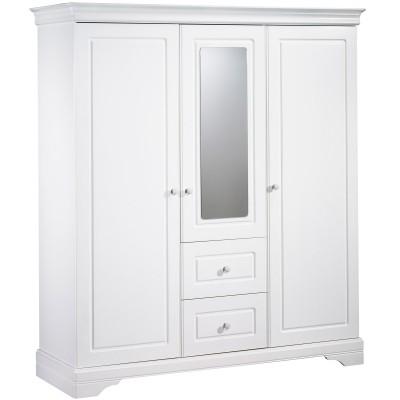 armoire 3 portes et 2 tiroirs avec miroir elodie blanc. Black Bedroom Furniture Sets. Home Design Ideas