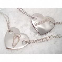 Bracelet empreinte coeur 2 trous coeur sur double chaîne 18 cm (argent 925°)