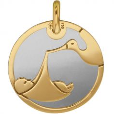 Médaille Bébé cigogne personnalisable (acier et or jaune 375°)