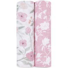 Lot de 2 maxi langes en coton Ma Fleur (120 x 120 cm)