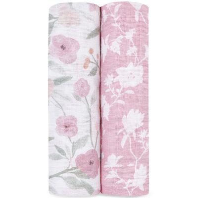 Lot de 2 maxi langes en coton Ma Fleur (120 x 120 cm)  par aden + anais