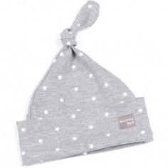 Bonnet de naissance noué Gaby gris clair