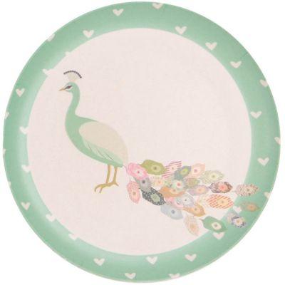 Petite assiette en bambou paon Peacock (20,5 cm) Love Maé