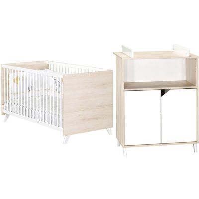 Pack duo Scandi naturel lit bébé évolutif et commode à langer Baby Price