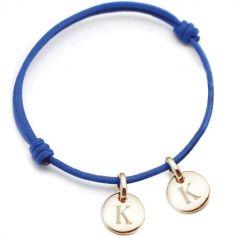 Bracelet cordon 2 charms rond personnalisable (plaqué or)