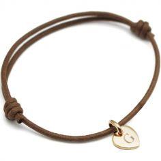 Bracelet cordon 1 charm coeur personnalisable (plaqué or)