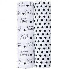Lot de 2 maxi langes en mousseline Little Chums chat (120 x 120 cm)