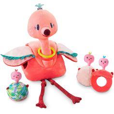 Peluche Anaïs le flamant rose et ses bébés