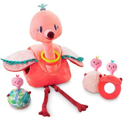 Peluche Anaïs le flamant rose et ses bébés Lilliputiens