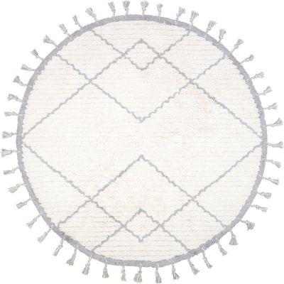 Tapis lavable rond Côme écru et gris (120 cm) Nattiot