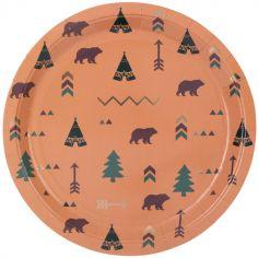 Lot de 8 assiettes en carton Indian Forest