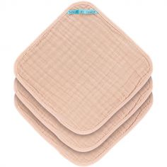 Lot de 3 débarbouillettes en mousseline rose pâle (30 x 30 cm)