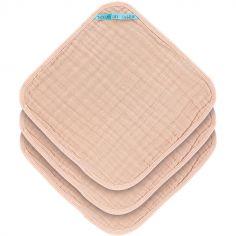 Lot de 3 débarbouillettes en mousseline rose pâle (30 x 30 cm)