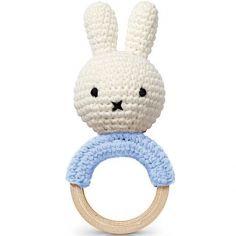 Hochet anneau de dentition Miffy bleu pastel