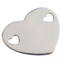 Bracelet empreinte coeur 2 trous coeur sur chaîne simple 14 cm (or blanc 750°)   par Les Empreintes