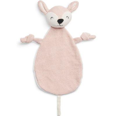 Doudou attache sucette biche en tricot rose pâle  par Jollein