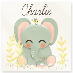 Plaque de porte carrée Les Animignons L'éléphant (personnalisable)