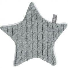 Doudou plat étoile Cable Uni gris (30 cm)