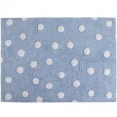 Tapis lavable bleu à pois blanc (120 x 160 cm) - Lorena Canals