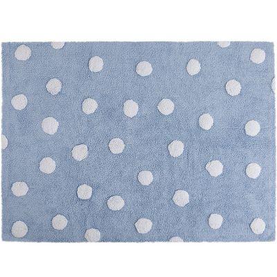 Tapis lavable bleu à pois blanc (120 x 160 cm)  par Lorena Canals