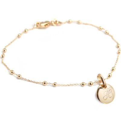 Bracelet médaille ronde chaîne perlée personnalisable (plaqué or) Petits trésors