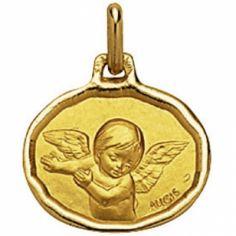 Médaille ovale Ange 16 mm bord diamanté (or jaune 750°)