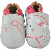 Chaussons cuir Anna gris (12-18 mois) - Noukie's