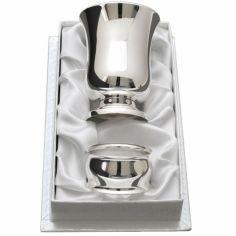 Coffret timbale et rond de serviette Design personnalisable (métal argenté)