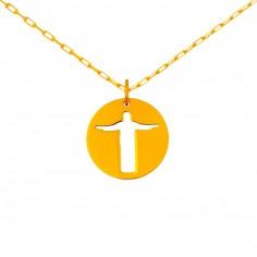 Collier chaîne 40 cm médaille Esquisses Mini Christ de Rio 10 mm (or jaune 750°)