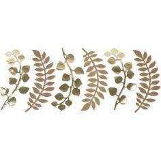 Lot de 6 décorations fougère et eucalyptus kraft et doré