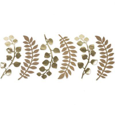 Lot de 6 décorations fougère et eucalyptus kraft et doré  par Arty Fêtes Factory