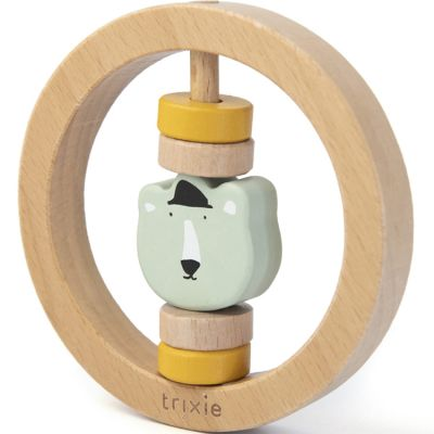 Hochet rond en bois ours Mr. Polar Bear  par Trixie