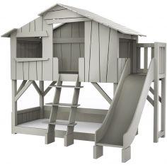 Lit cabane superposé avec toboggan finition laquée (5 coloris au choix)